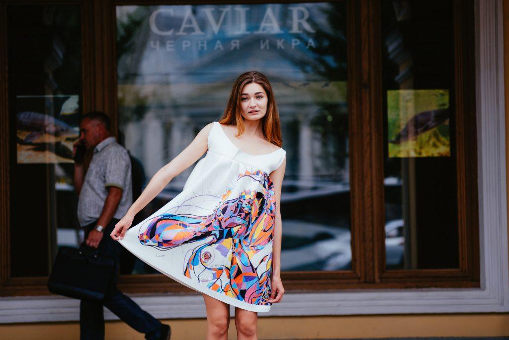 Using her own print in her dress design by Susarenko Maria